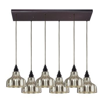 46008/6RC Danica 6 Light Pendant In Oiled Bronze And Mercury Glass - Free Shipping!