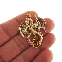 4 Gold dragon charms, gold tone charms, gold dragon charm, fantasy charms, dragon jewelry supplies, dragon pendant, dragon pendants, dragons