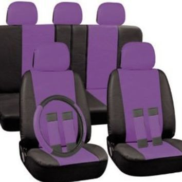 Oxgord 17pc Set PU Leather / Purple & Black Auto Seat Covers Set - Airbag Compatible - Front Low Back Buckets - 50/50 or 60/40 Rear Split Bench - 5 Head Rests - Universal Fit for Car, Truck, Suv, or Van - FREE Steering Wheel Cover