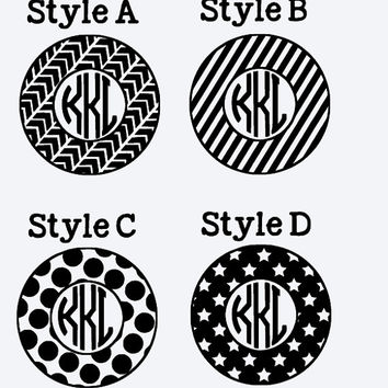 Patterned Circle Monogram Decals