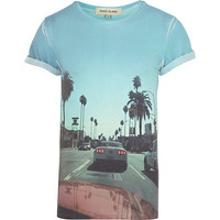 River Island MensBlue sublimation photo print t-shirt