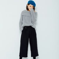 Oversized Black Trousers with Belt