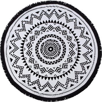 "Round Beach Towel - ""Black Sand Beach"""