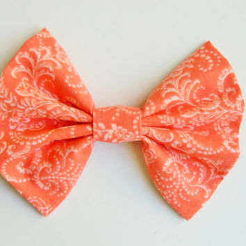 Coral Floral Hairbow, Large Hairbow, Chignon Hairbow, Hairbow great for a bun, Alligator clip or barrette