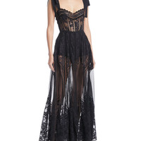 Elie Saab Sweetheart-Neck Tie-Shoulder Lace and Tulle Dress with Macrame Trim