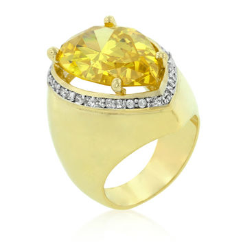 Vani Canary Yellow Pear CZ Gold Cocktail Ring | 21ct | Cubic Zirconia | 18k Gold