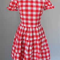 Cotton Red Gingham Dress Vintage Women's 50s Clothing Plaid Sundress puff short sleeves full gathered skirt size xs small red