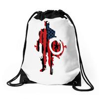 captain america flag abstract Drawstring Bags