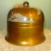 Lacquer Box, Gold Japanese Scene, Round Gorgeous, roomy