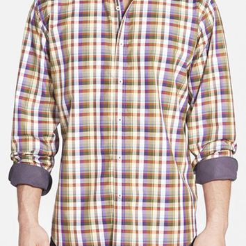 Men's Bugatchi Classic Fit Plaid Sport Shirt,