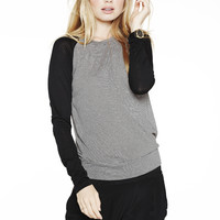 STRIPED CONTRAST RAGLAN at LNA Clothing in  OAT/BLACK STRIPES