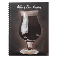 Dark Beer in Tulip Glass Porter Stout Painting Art Spiral Note Book