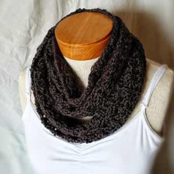 Charcoal cowl Black crochet neck scarf  Gray bamboo wool angora blend infinity wrap Unisex Men Ladies teen neck warmer
