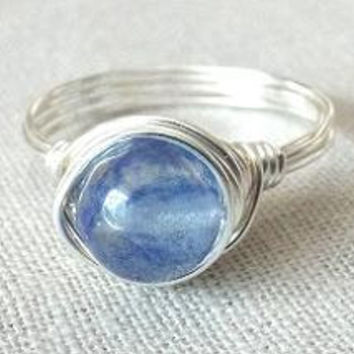 Blueberry Quartz ring/wire wrap ring/Quartz ring/blue stone ring/gifts under 15/blue and silver/simple ring/cute ring/summer jewelry