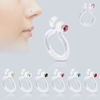 Fake, Non Piercing Jewelryclear Bioflex ( Nose) Clip on Cz Bio-flex Fake/faux Nose Ring