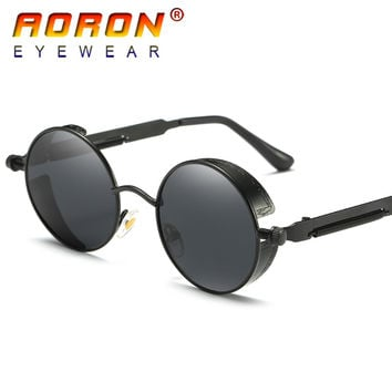 AORON Brand Men Polarized Sunglasses Gothic Steampunk Coating Mirrored Round Circle Sun Glasses Retro UV400 Vintage Eyewear 2017