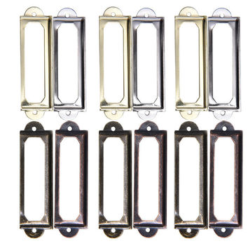 Drawer Pull Holder Poignee Meuble Label Handle Card Frame With Screws Antique Cabinet File 4 Colors 10pcs/lot 60x17mm