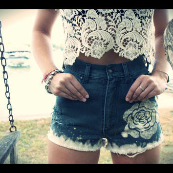 High Waisted Flower Jean Shorts