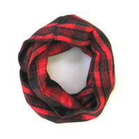 Buffalo Plaid Scarf Child Flannel Scarf Kid Unisex Scarf Toddler Winter Scarf Kid Holiday Scarf Baby Bib Scarf Red Black Ready to Ship