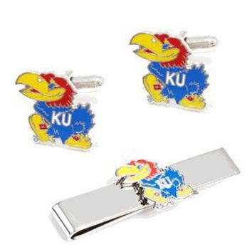 Kansas University Jayhawks Cufflinks and Tie Bar Gift Set-CLI-PD-KU-CT
