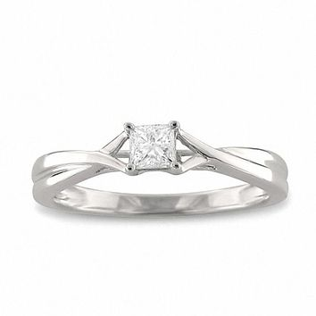 1/4 CT. Princess-Cut Diamond Solitaire Twist Shank Engagement Ring in 14K White Gold