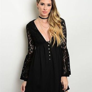 Women Fashion Black Lace Boho Dress Tunic Top Bell Sleeve Plunge Neck Button Down Front Empire Waist Casual
