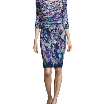 3/4-Sleeve Floral-Print Dress, Size: