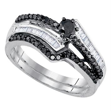 Sterling Silver Women's Round Black Color Enhanced Diamond Bridal Wedding Engagement Ring Band Set 5/8 Cttw - FREE Shipping (US/CAN)