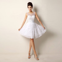Lace Beading Short Wedding Dresses Sexy Plus Size Vintage styles Casamento pink white Ivory cute