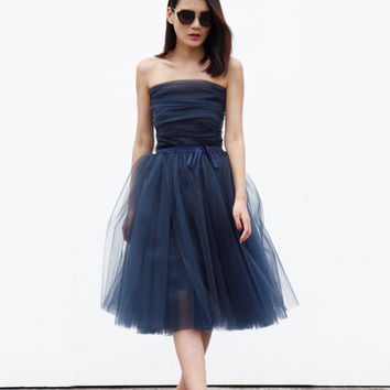 Tulle Skirt Tea length Tutu Skirt Elastic Waist tulle tutu Princess Skirt Wedding Skirt in Dark Blue - NC508