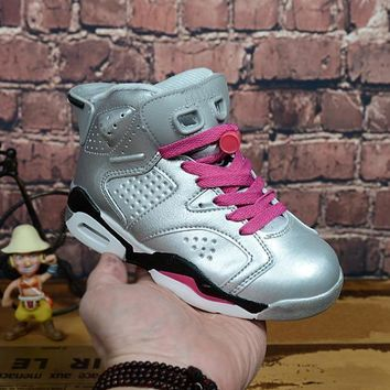 Kids Air Jordan 6 Silver/pink Sneaker Shoe Size Us 11c 3y | Best Deal Online