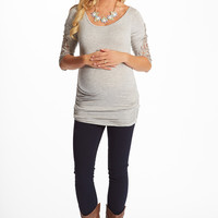Grey Crochet Sleeve Maternity Top