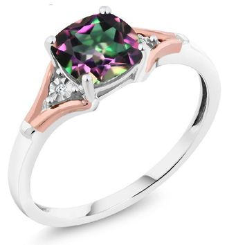 1.70 Ct Cushion Green Mystic Topaz and Diamond 10K Two-Tone Gold Ring