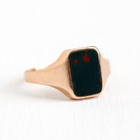 Antique Bloodstone Ring - Vintage Art Deco 14k Rosy Yellow Gold Size 5 1/2 - 1920s Green Red Gemstone Fine Rectangular Jewelry