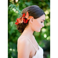 Handmade Colored Butterfly Bridal Hair Accents