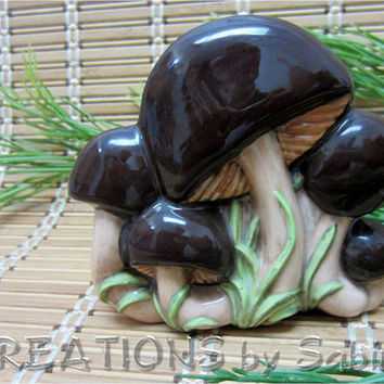 Vintage Ceramic Mushroom Napkin Holder / Toad Stool / Brown Green Tan Beige Woodland / Retro Nature Natural Nightshade / FREE SHIPPING (187)