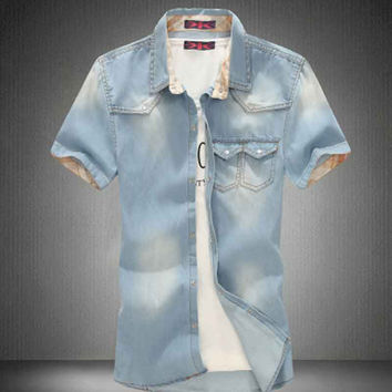 Men Jeans Shirt Cotton Thin Short Sleeve Denim Shirts Men's Single Breasted Patchwork Cowboy Camisas Chemise Homme
