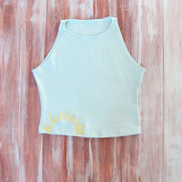 Sun Crop Top-Womens Sun Sleeveless Crop Top-Embroidered Crop Top-Sunshine Crop Top