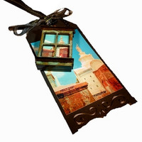 Miniature New Orleans Folk Art Assemblage, Room With A View, OOAK Window Necklace, Gothic Dark Art Mixed Media