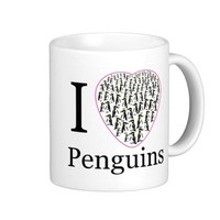 I love penguins pink heart cup