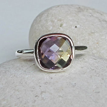 Ametrine Silver Ring- Amethyst with Citrine Ring- Bi Color Gemstone Ring- Birthstone Ring