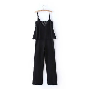Summer Women's Fashion Stylish V-neck Lace Mosaic Chiffon Jumpsuit [4919983172]