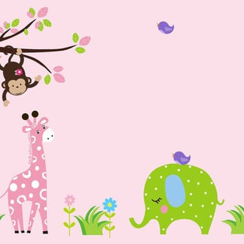 "Girls Baby Room Wall Decals, Pink Toned Nursery Decor, Jungle Wall Decals for Girls, Safari Wall Decals, Nursery Wall Decals - 86"" x 60"""