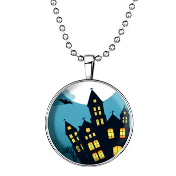 Bat City Cross Pendant Halloween Necklace