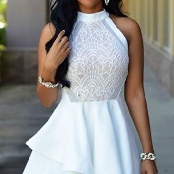 Follow Your Heart White Sleeveless Halter Lace Trim Ruffle Tier Skater Circle A Line Flare Mini Dress