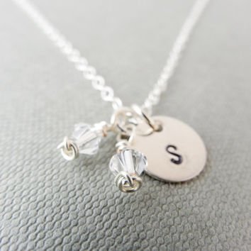 Birthstone initial necklace, April birthstone necklace, monogram necklace, Sterling Silver necklace, Swarovski necklace, April birthday