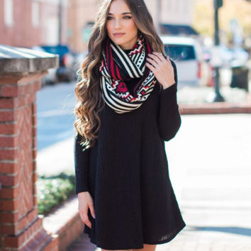 Autumn and Winter High-Quality Fashion Plain Long Sleeve Sweater Dress With Pocket +Free Gift Christmas Gold Necklace