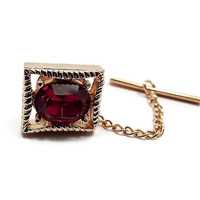 Vintage Tie Tack, Swank Signed, Red to Fuchsia Rhinestone, Rectangle Tie Pin, Gold Tone, Mid Century 1960s 60s, Mens Bling, Valentines Day