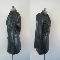 Black Faux Leather Bomber Mini Skirt Set 1990s Vintage Vegan Pleather
