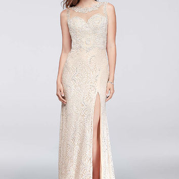 Long Lace Dress with Cutaway Bodice and Slit Skirt - Davids Bridal